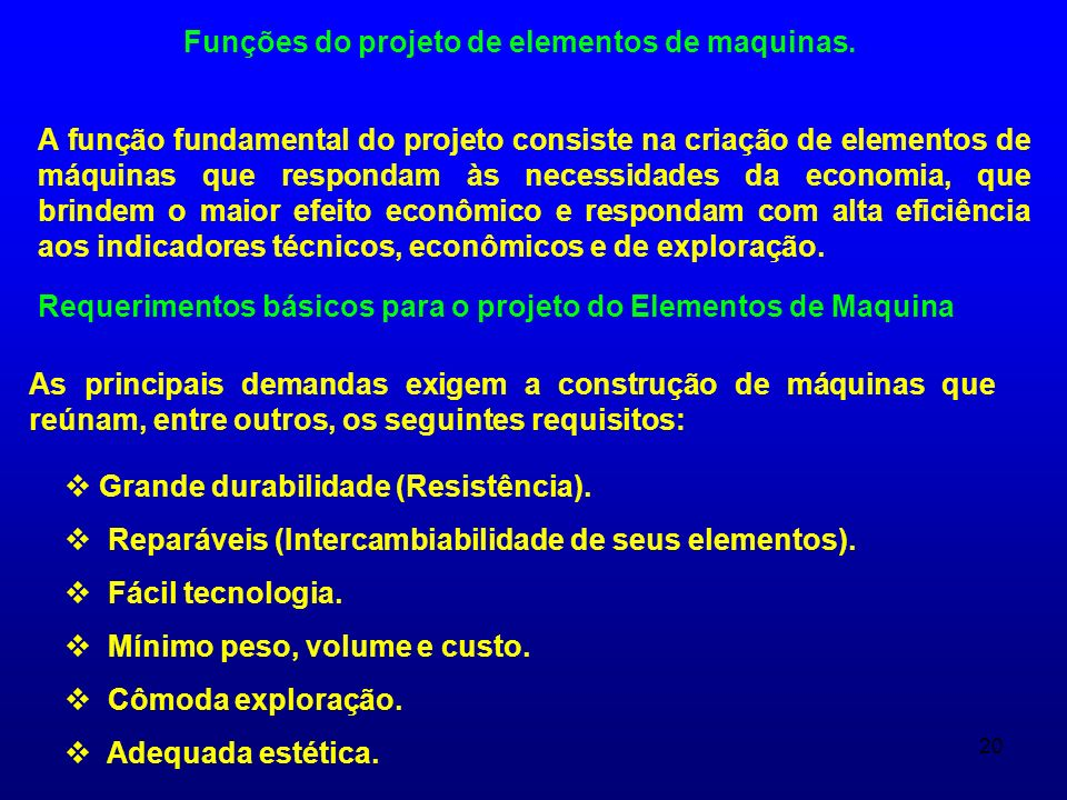 Funções do projeto de elementos de maquinas.