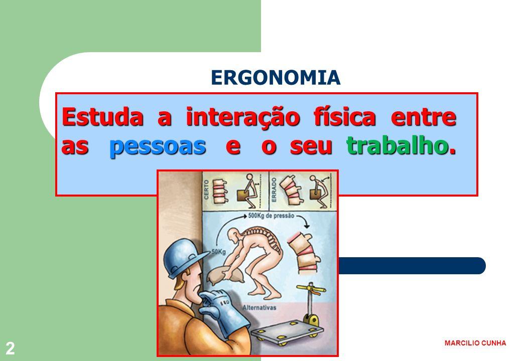Estuda a interação física entre as pessoas e o seu trabalho.