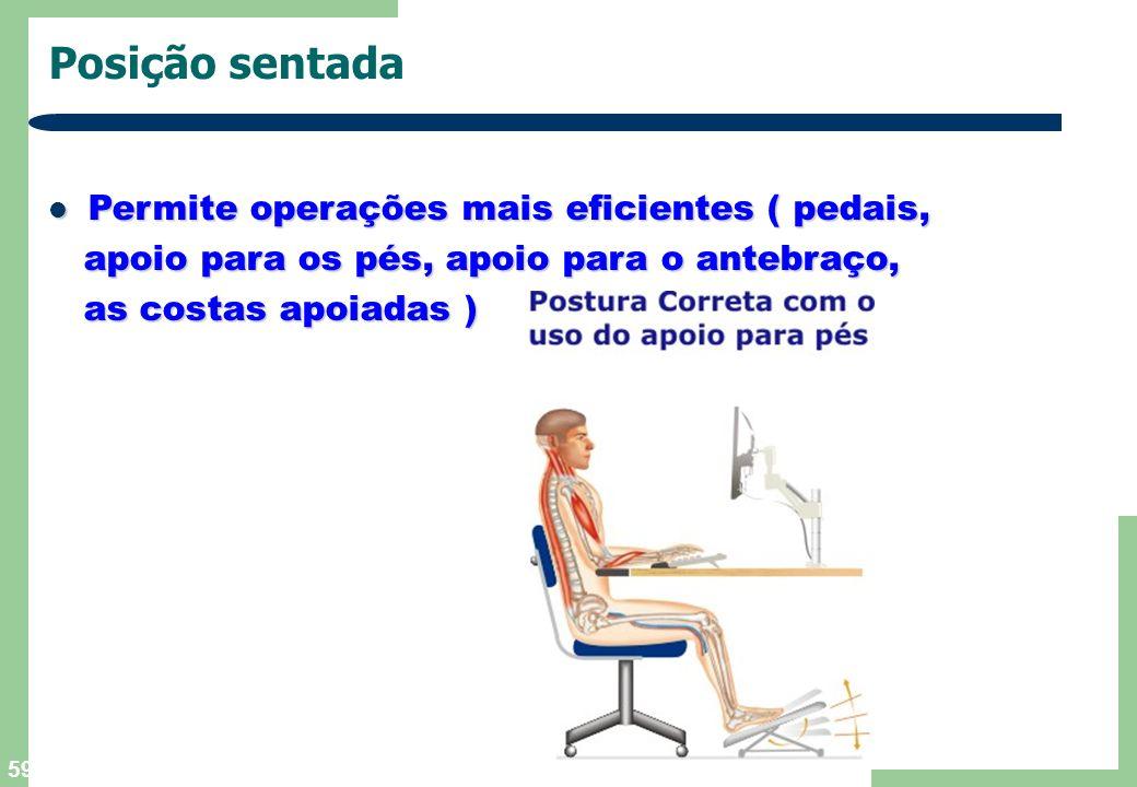 Posição sentada Permite operações mais eficientes ( pedais,