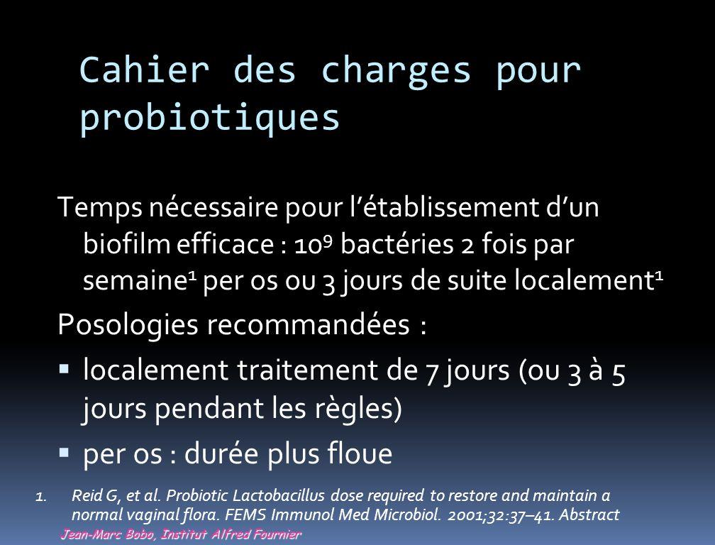 Cahier des charges pour probiotiques