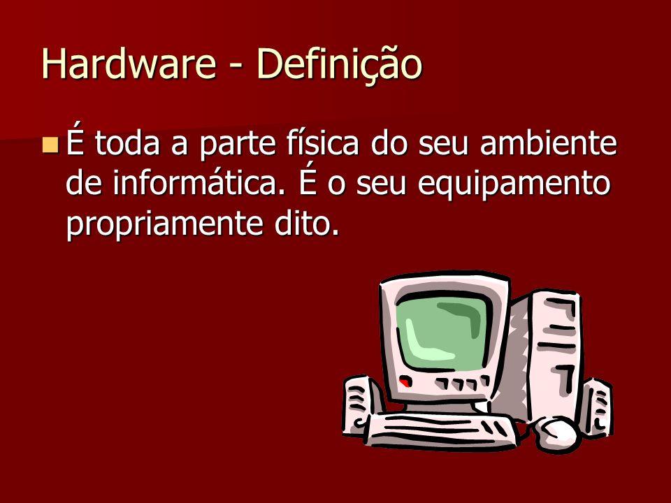 Hardware - Definição É toda a parte física do seu ambiente de informática.