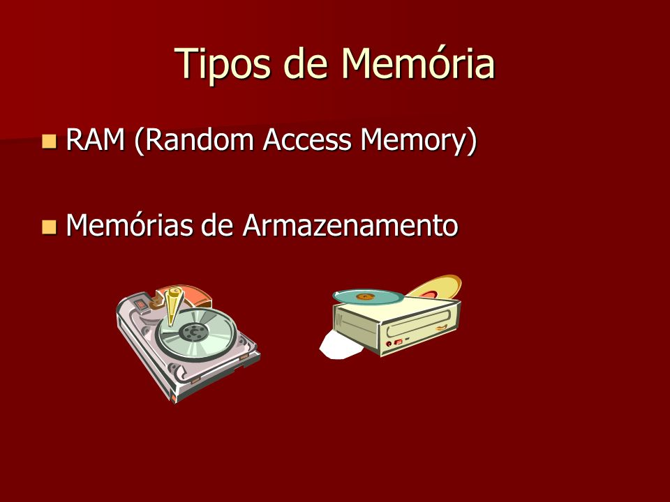 Tipos de Memória RAM (Random Access Memory) Memórias de Armazenamento