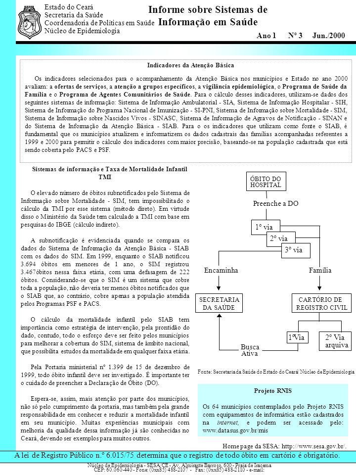 Informe sobre Sistemas de Informação em Saúde