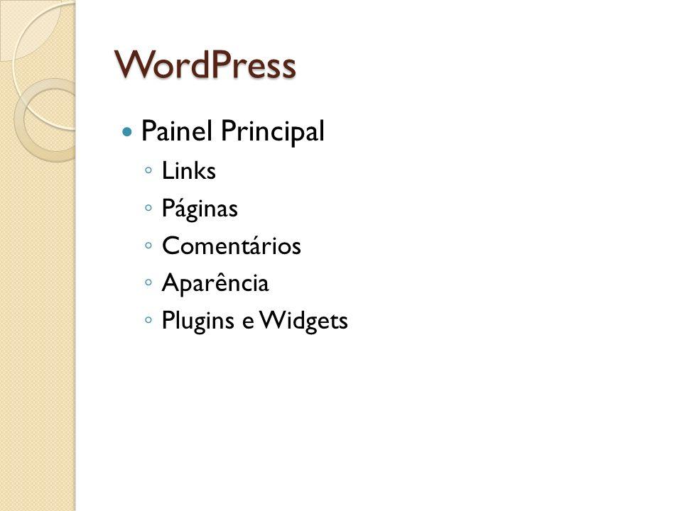 WordPress Painel Principal Links Páginas Comentários Aparência