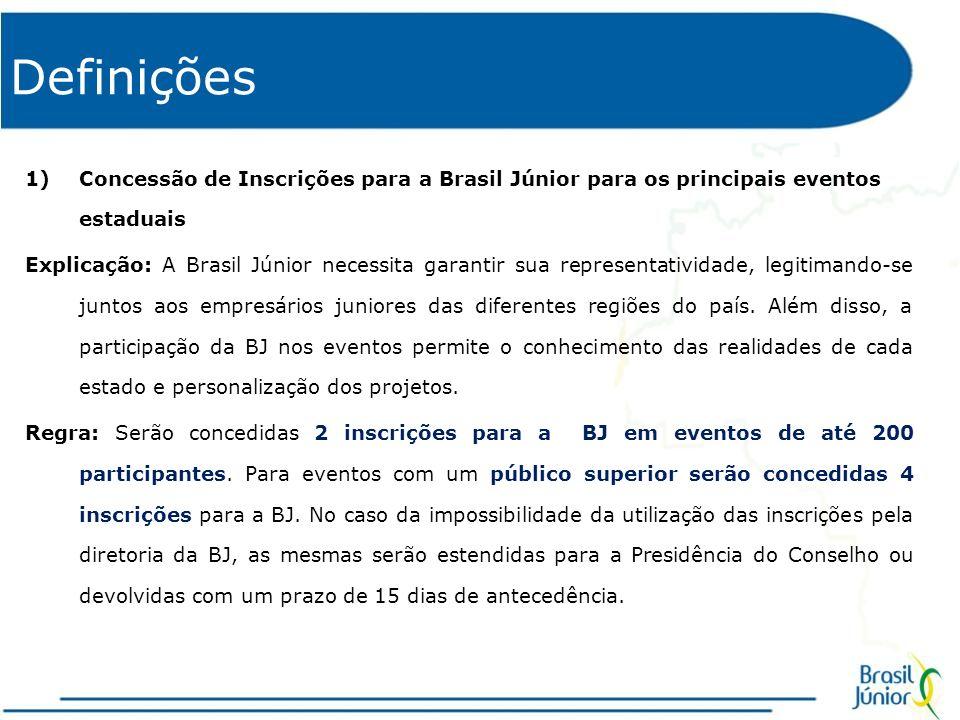 Definições Concessão de Inscrições para a Brasil Júnior para os principais eventos estaduais.