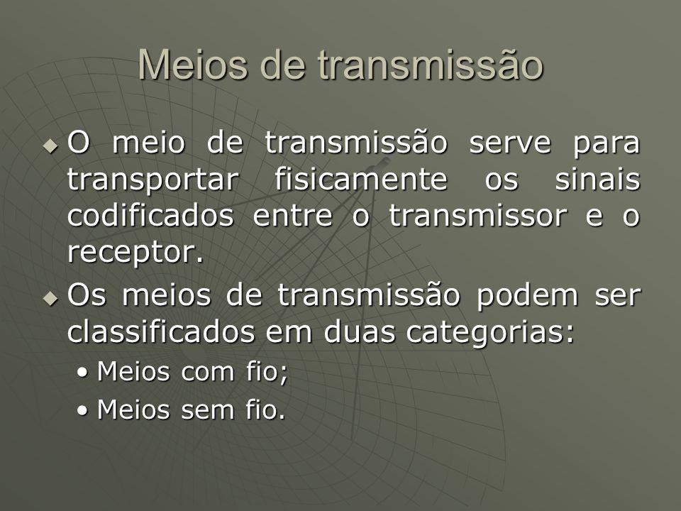Meios de transmissão O meio de transmissão serve para transportar fisicamente os sinais codificados entre o transmissor e o receptor.