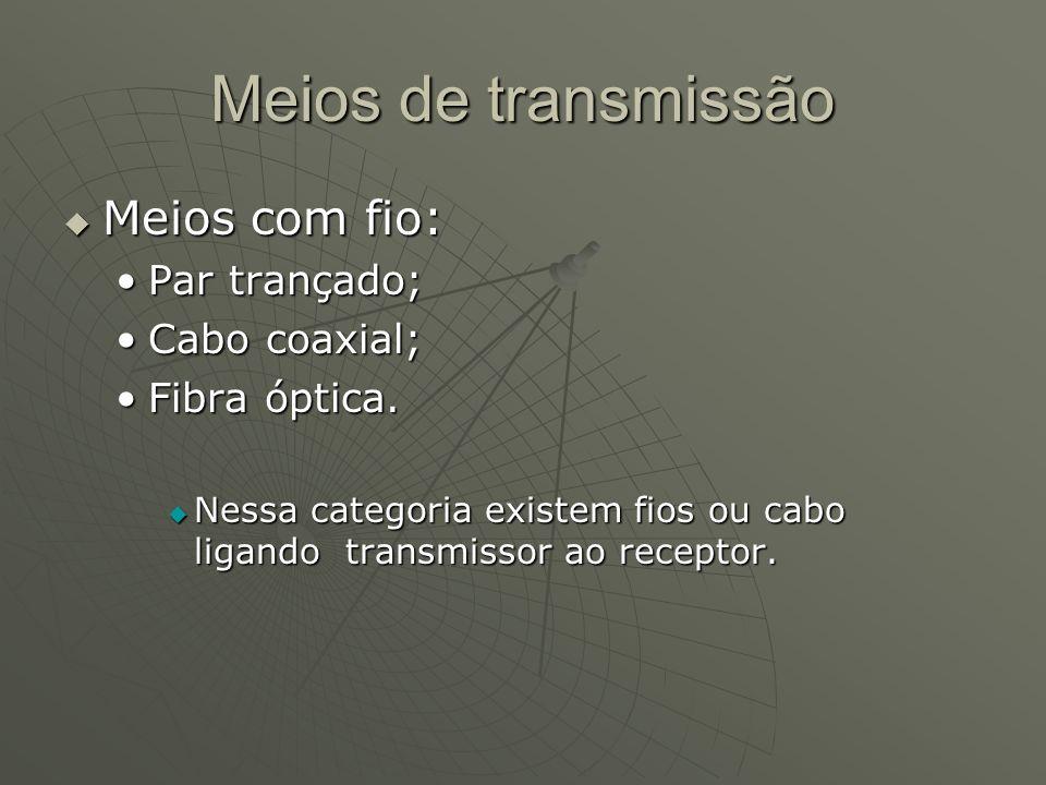 Meios de transmissão Meios com fio: Par trançado; Cabo coaxial;