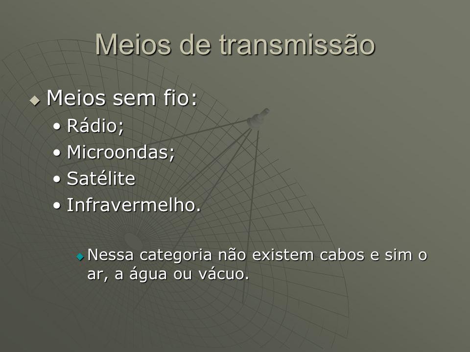 Meios de transmissão Meios sem fio: Rádio; Microondas; Satélite