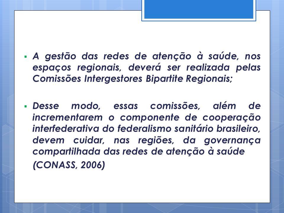 A gestão das redes de atenção à saúde, nos espaços regionais, deverá ser realizada pelas Comissões Intergestores Bipartite Regionais;