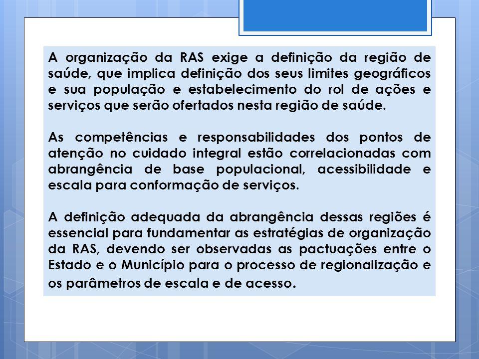 A organização da RAS exige a definição da região de saúde, que implica definição dos seus limites geográficos e sua população e estabelecimento do rol de ações e serviços que serão ofertados nesta região de saúde.