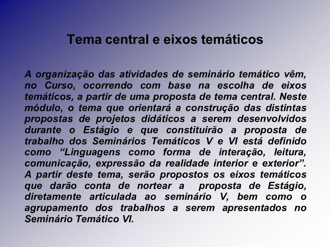Tema central e eixos temáticos