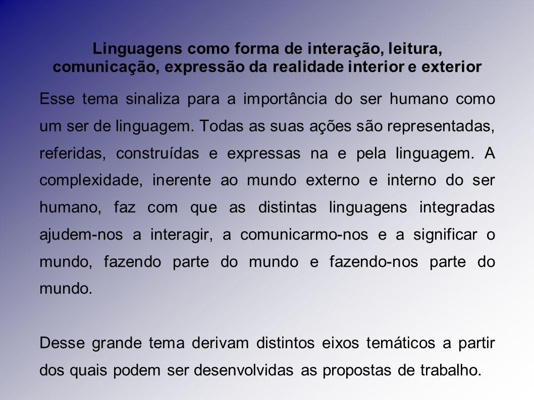 Linguagens como forma de interação, leitura, comunicação, expressão da realidade interior e exterior