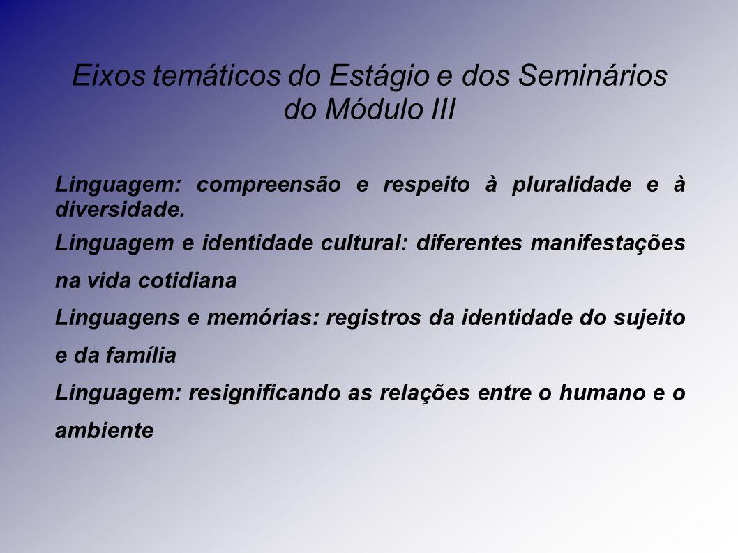 Eixos temáticos do Estágio e dos Seminários do Módulo III