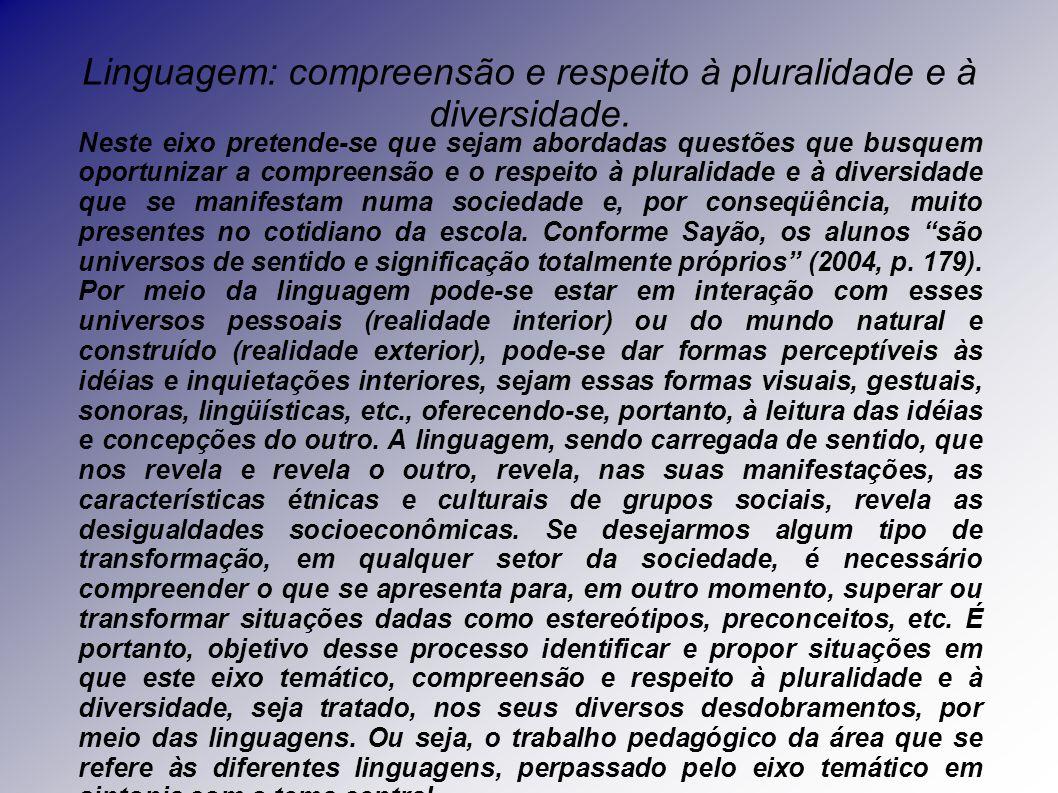 Linguagem: compreensão e respeito à pluralidade e à diversidade.