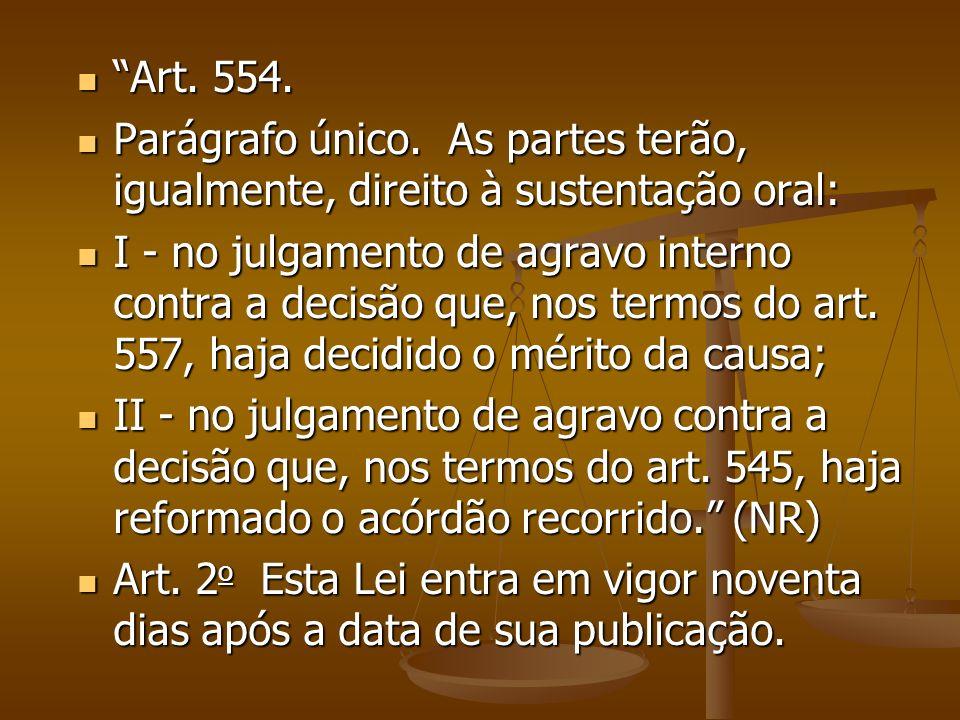 Art. 554. Parágrafo único. As partes terão, igualmente, direito à sustentação oral: