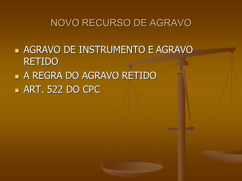 NOVO RECURSO DE AGRAVO AGRAVO DE INSTRUMENTO E AGRAVO RETIDO.