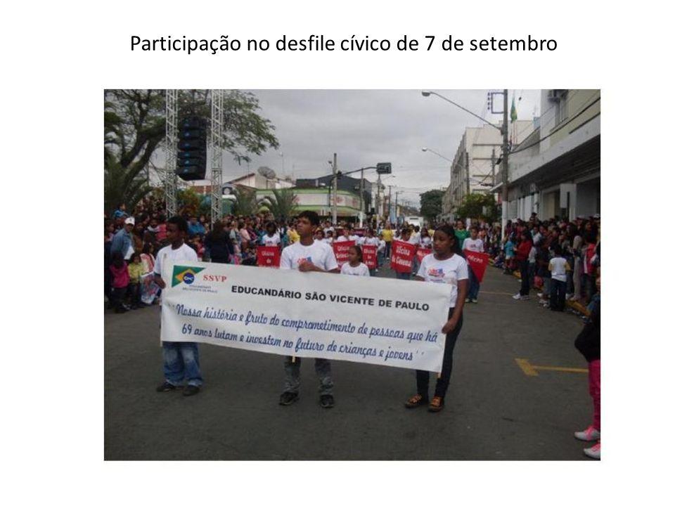 Participação no desfile cívico de 7 de setembro