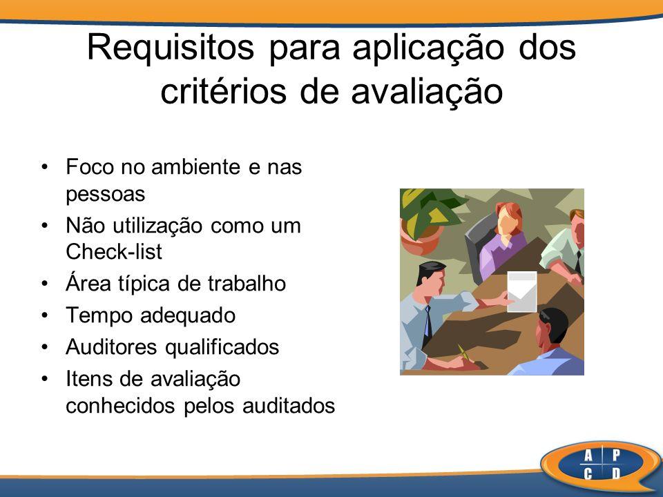 Requisitos para aplicação dos critérios de avaliação