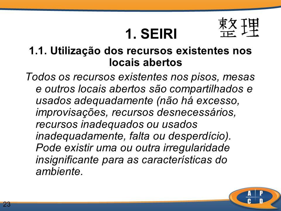 1.1. Utilização dos recursos existentes nos locais abertos