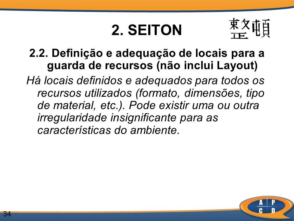2. SEITON 2.2. Definição e adequação de locais para a guarda de recursos (não inclui Layout)