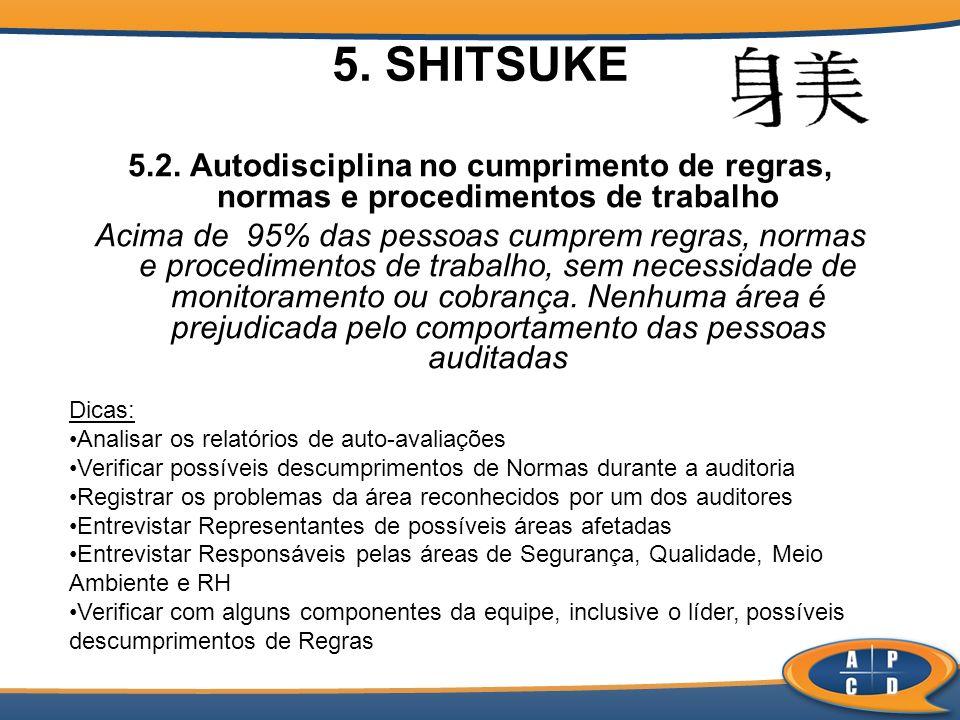 5. SHITSUKE 5.2. Autodisciplina no cumprimento de regras, normas e procedimentos de trabalho.