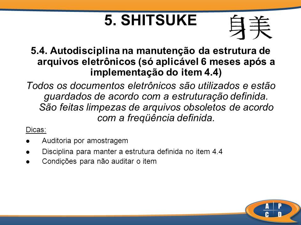 5. SHITSUKE 5.4. Autodisciplina na manutenção da estrutura de arquivos eletrônicos (só aplicável 6 meses após a implementação do item 4.4)