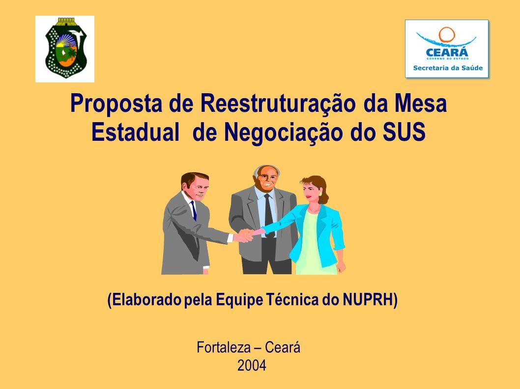 Proposta de Reestruturação da Mesa Estadual de Negociação do SUS