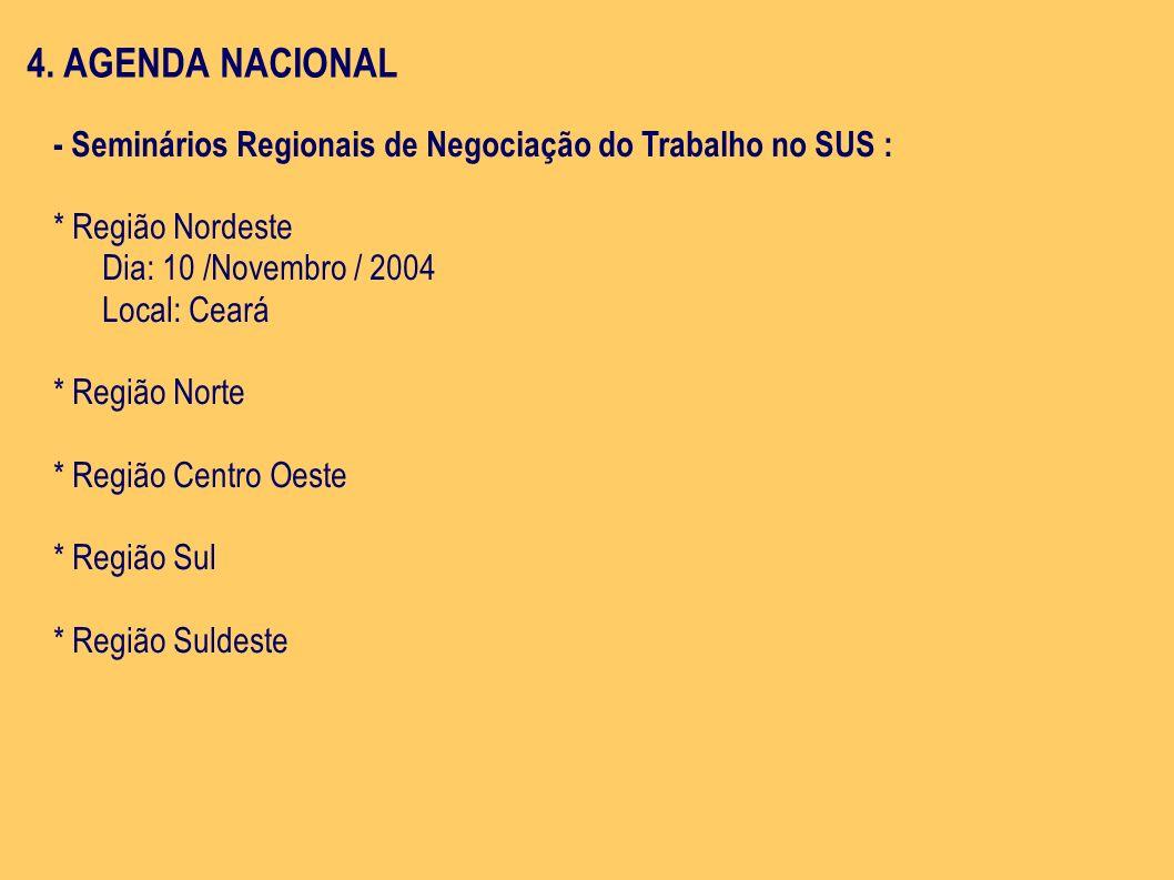 4. AGENDA NACIONAL- Seminários Regionais de Negociação do Trabalho no SUS : * Região Nordeste. Dia: 10 /Novembro / 2004.