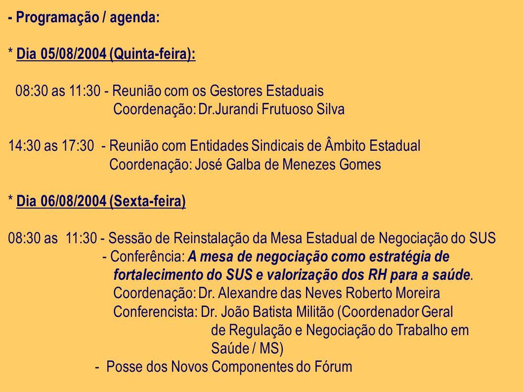 - Programação / agenda: