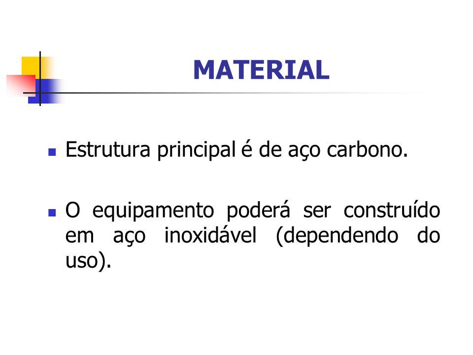 MATERIAL Estrutura principal é de aço carbono.
