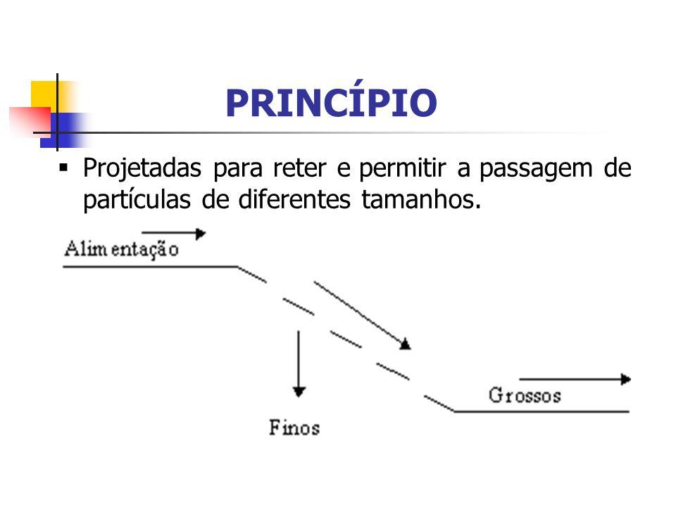 PRINCÍPIO Projetadas para reter e permitir a passagem de partículas de diferentes tamanhos.
