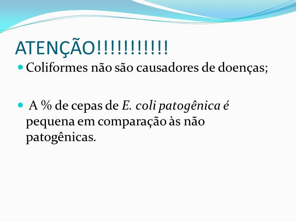 ATENÇÃO!!!!!!!!!!! Coliformes não são causadores de doenças;