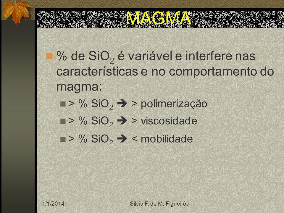 MAGMA % de SiO2 é variável e interfere nas características e no comportamento do magma: > % SiO2  > polimerização.