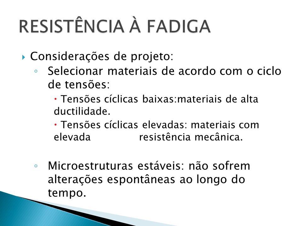 RESISTÊNCIA À FADIGA Considerações de projeto: