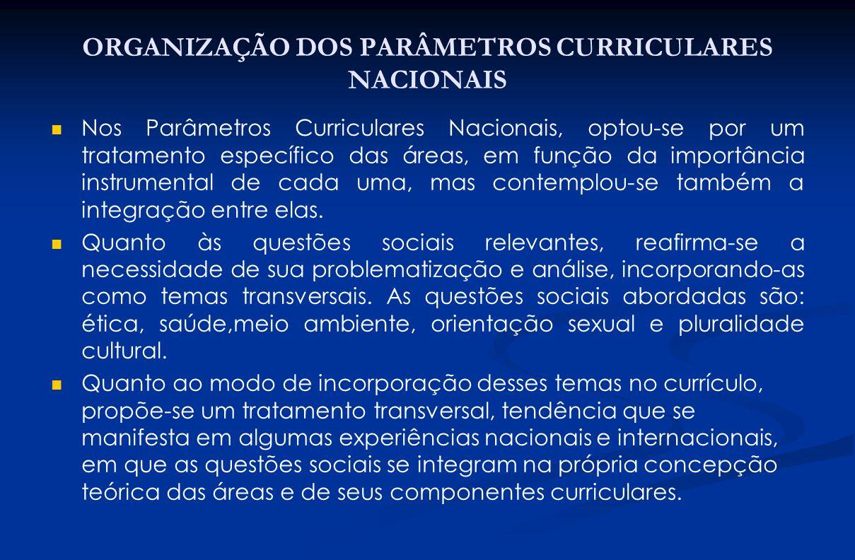 ORGANIZAÇÃO DOS PARÂMETROS CURRICULARES NACIONAIS