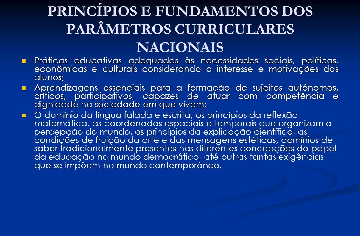 PRINCÍPIOS E FUNDAMENTOS DOS PARÂMETROS CURRICULARES NACIONAIS