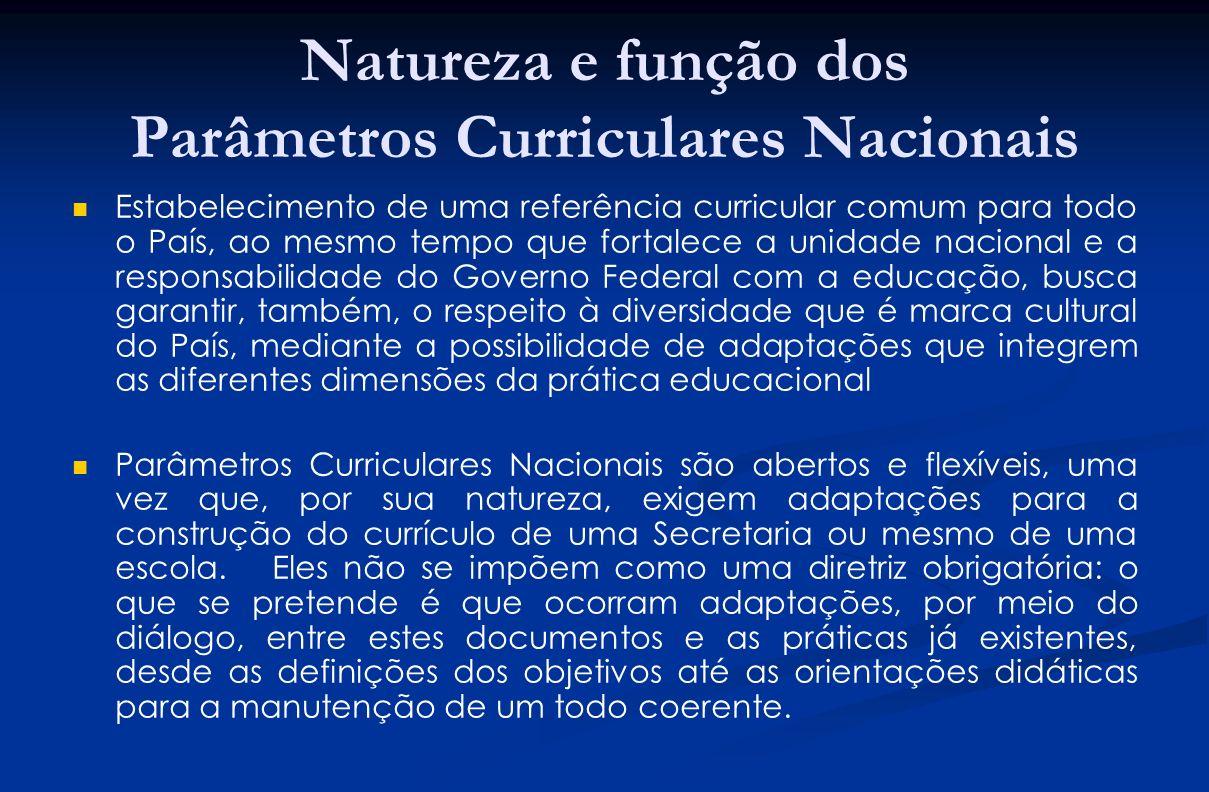 Natureza e função dos Parâmetros Curriculares Nacionais