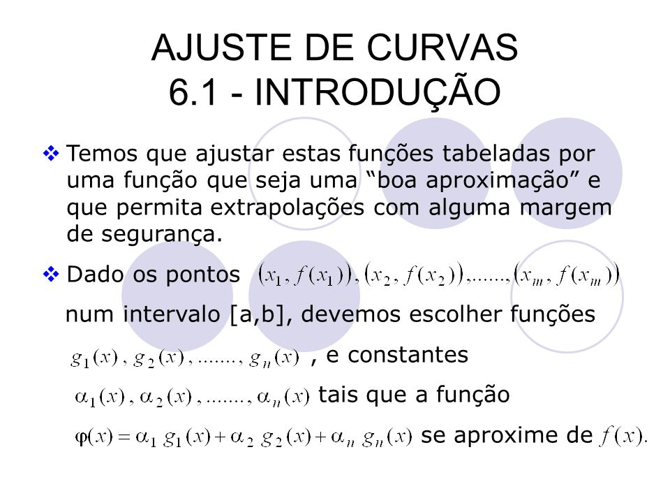 AJUSTE DE CURVAS 6.1 - INTRODUÇÃO