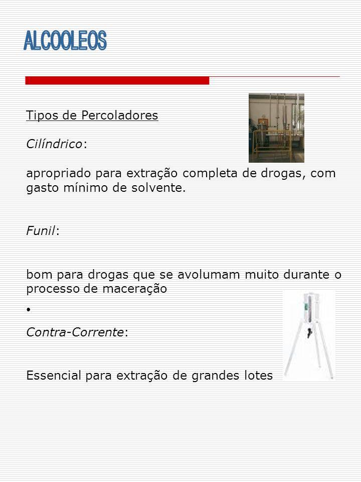 ALCOOLEOS Tipos de Percoladores Cilíndrico: