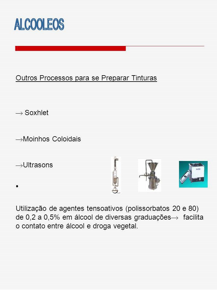 ALCOOLEOS Outros Processos para se Preparar Tinturas  Soxhlet