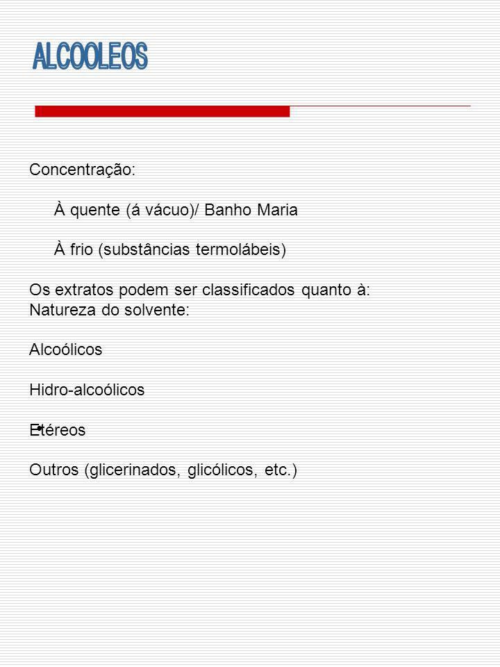 ALCOOLEOS Concentração: À quente (á vácuo)/ Banho Maria