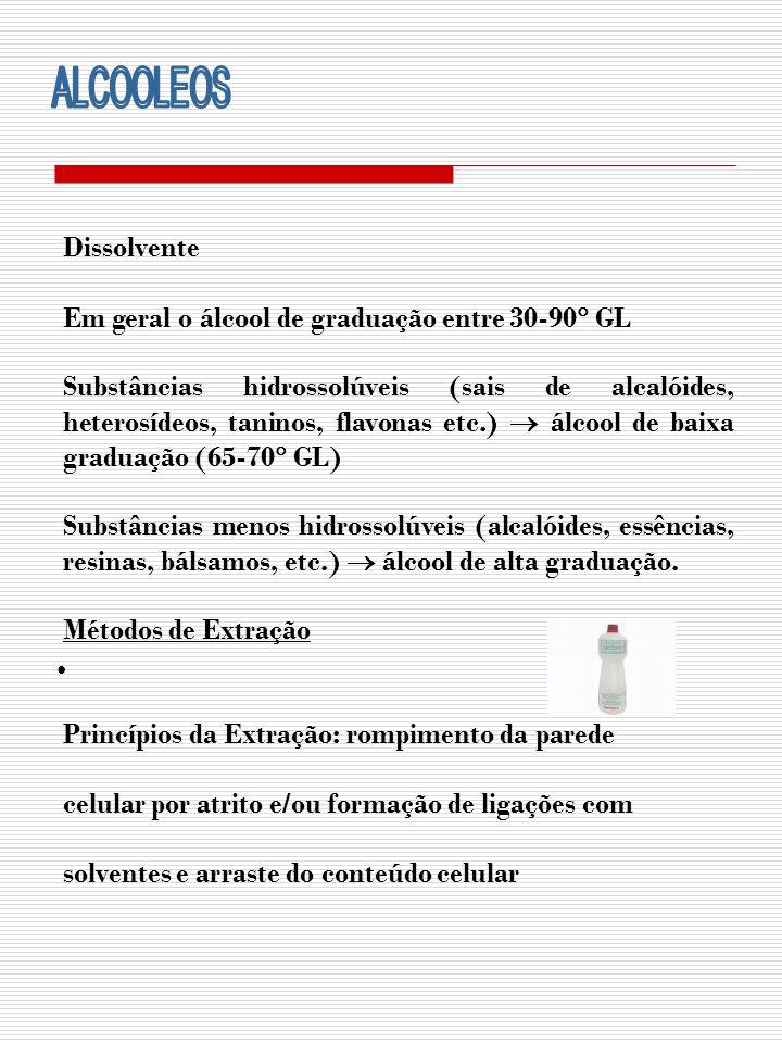 ALCOOLEOS Dissolvente Em geral o álcool de graduação entre 30-90 GL