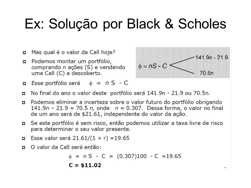 Ex: Solução por Black & Scholes