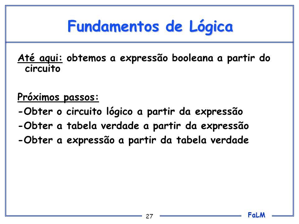 Fundamentos de LógicaAté aqui: obtemos a expressão booleana a partir do circuito. Próximos passos: -Obter o circuito lógico a partir da expressão.