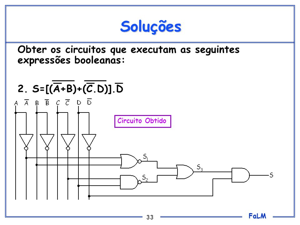 SoluçõesObter os circuitos que executam as seguintes expressões booleanas: 2.