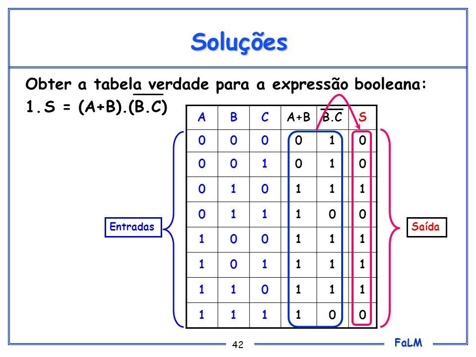 Soluções Obter a tabela verdade para a expressão booleana: 1.
