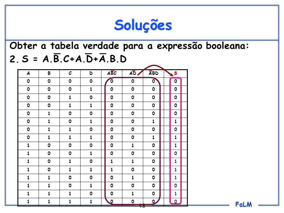 Soluções Obter a tabela verdade para a expressão booleana: 2.