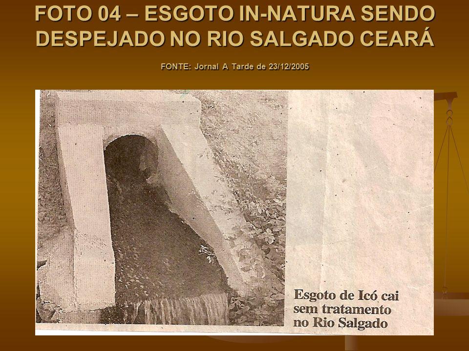 FOTO 04 – ESGOTO IN-NATURA SENDO DESPEJADO NO RIO SALGADO CEARÁ FONTE: Jornal A Tarde de 23/12/2005