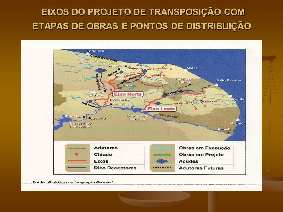 EIXOS DO PROJETO DE TRANSPOSIÇÃO COM ETAPAS DE OBRAS E PONTOS DE DISTRIBUIÇÃO