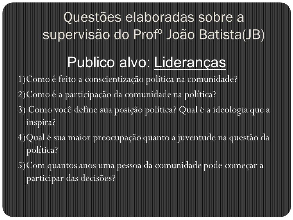 Questões elaboradas sobre a supervisão do Profº João Batista(JB)